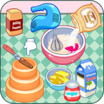 Cook a candy birthday cake icon