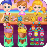 Ice cream shop on the beach icon
