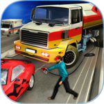 Modern City Gas Station 3D Pickup Truck Refueling icon