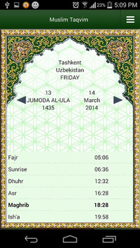 Muslim Taqvimi (Prayer times) pc screenshot 1