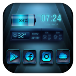 Blue launcher theme &wallpaper icon