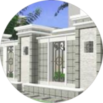 minimalist house fence design icon