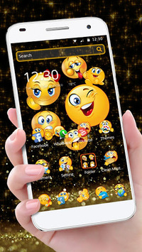 Black Glitter Emoji Theme pc screenshot 1