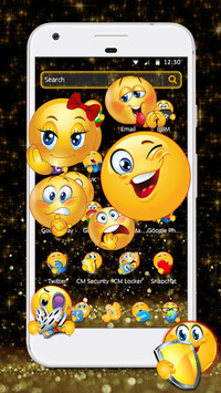 Black Glitter Emoji Theme pc screenshot 2