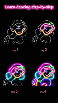 Learn To Draw Glow Princess pc screenshot 1