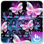 Glitter Neon Purple Butterfly Keyboard Theme icon