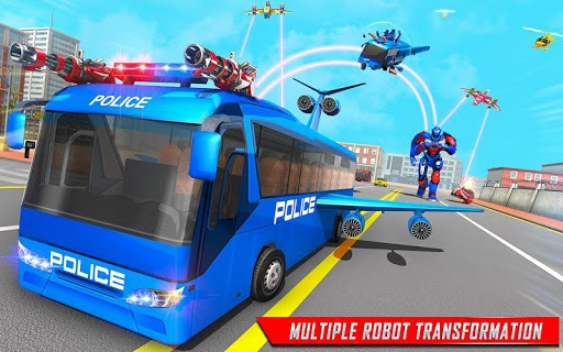 Flying Bus Robot Transform War- Police Robot Games PC screenshot 1