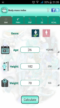 BMI Ideal weight and calories pc screenshot 1