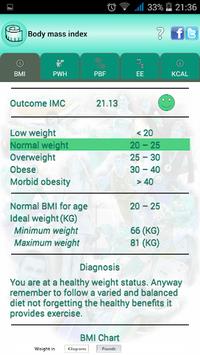 BMI Ideal weight and calories pc screenshot 2