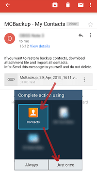 MCBackup - My Contacts Backup pc screenshot 1