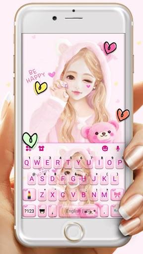 Cute Wink Girl Keyboard Theme pc screenshot 1