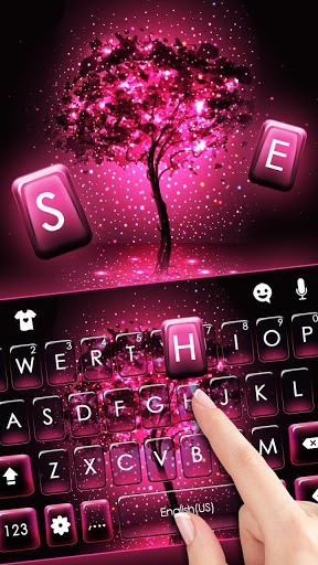 Neon Pink Galaxy Keyboard Theme pc screenshot 1