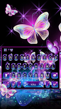 Sparkle Neon Butterfly Keyboard Theme pc screenshot 1