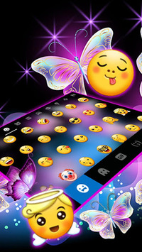 Sparkle Neon Butterfly Keyboard Theme pc screenshot 2