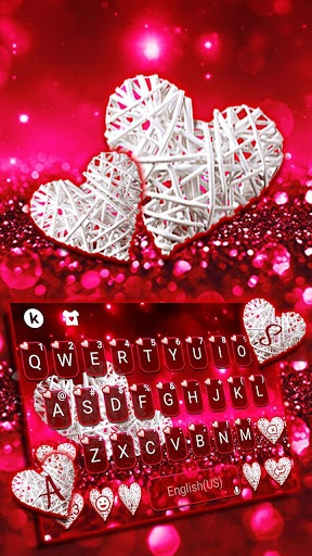 Valentine White Hearts Keyboard Theme pc screenshot 1
