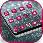 Silver Pink Glitter launcher for Galaxy S8 lovers icon