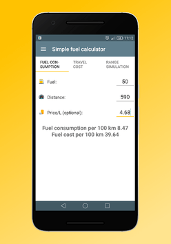 Simple fuel calculator pc screenshot 1