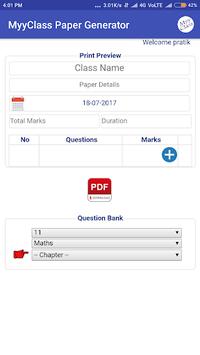 MyyClass Exam/Test Paper Generator app CBSE GSEB pc screenshot 1