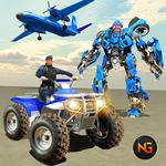 US Police Quad Bike ATV Robot Car Transporter Game icon
