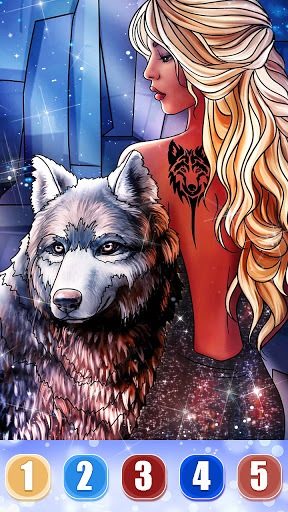 Wolf Coloring Book: Free paint by number offline PC screenshot 3