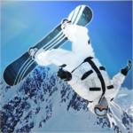 Steep mountain surfers alpine icon