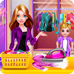 Mommy and Little Baby Laundry Day icon