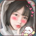 Blush: red cheeks, shy face, kawaii anime stickers icon