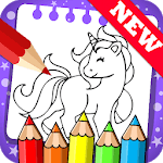 Draw colouring pages for Unicorn icon