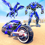 US Police Flying Horse Robot Bike Transform Game icon