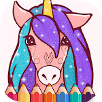 Animated Glitter Coloring Book - Unicorn for pc logo