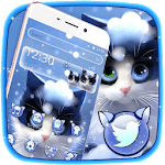 Cute Furry Snow Cat Theme icon