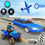 US Police limousine Car Quad Bike Transporter Game icon