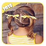 Hairstyles step by step for children :short hair icon