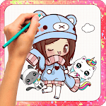 How to draw kawaii : Step by step icon