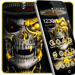 Luxury Golden Metal Skull Theme icon