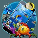 Lively Aquarium Gold Blue Fish Theme icon