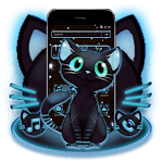 Blue Neon Glow Kitty Theme icon