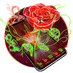 3D Neon Red Rose Launcher Theme for pc logo