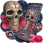 3D Skull Red Rose Theme for pc logo