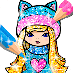 Girls Coloring Book for Kids Glitter icon