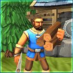 Peasant town farming icon