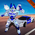 Real US Robot Fighting - Police Car Transport Game icon