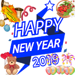 new year 2019 greetings for imessage stickers icon