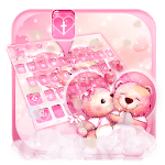 Pink Teddy Couple Love Keyboard Theme icon