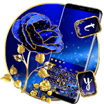 Gold and Blue Glitter Rose Keyboard Theme icon