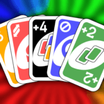 Color number card game: uno icon