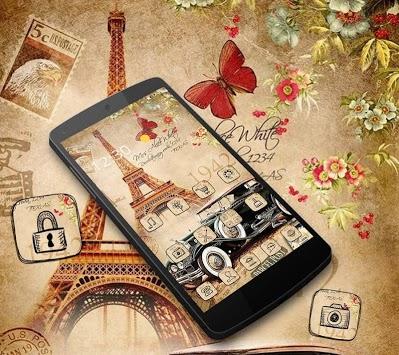 Nostalgic Eiffel Car Butterfly Theme pc screenshot 1