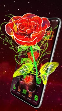 3D Neon Red Rose Launcher Theme pc screenshot 1