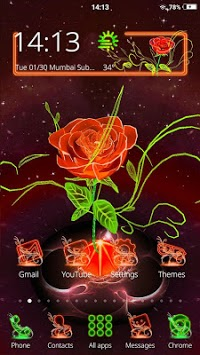 3D Neon Red Rose Launcher Theme pc screenshot 2