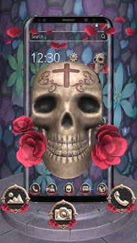 3D Skull Red Rose Theme pc screenshot 1